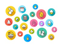 Easter and spring themed icons