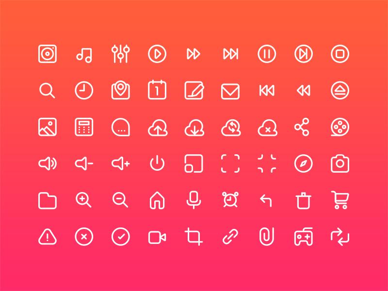 Multimedia icon set stroke multimedia iphone icons glyphs web flat vector ios illustration