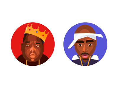 BIGGIE & 2Pac  east coast west coast illustrator ios ui ux flat characters bright natorious big 2pac illustration