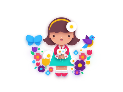Girl and flowers painting art cartoon flat spring character bright colors illustrator adobe