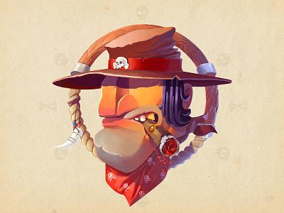 Wild West Bandit  adobe photoshop illustrator illustration bandit colors art skull character cartoon wild wacom
