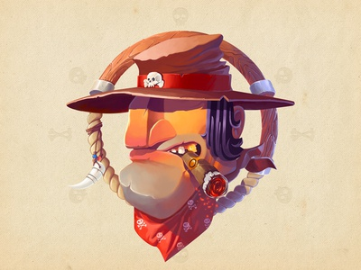 Wild West Bandit  adobe photoshop illustrator illustration bandit colors art skull character cartoon wild wacom