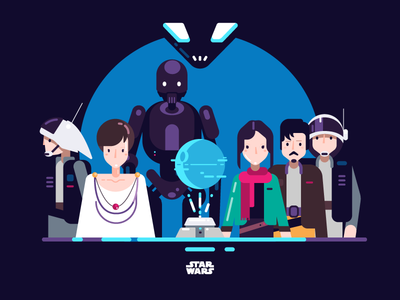 Star Wars Rogue One Illustration  art illustrator adobe flat design characters colors illustration star wars