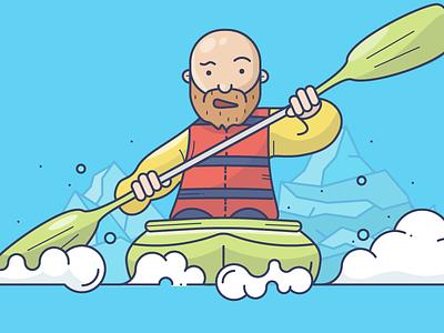 Kayaking life jacket icebergs rapids rafting water oar boat row kayak