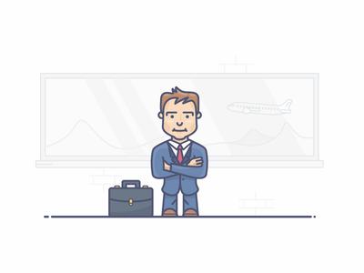 Business user suit man airport flight passenger travel briefcase business