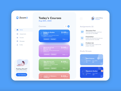 Zoom University: Dashboard Concept zoom webapp uiux ux education design dashboard ui dashboard academic