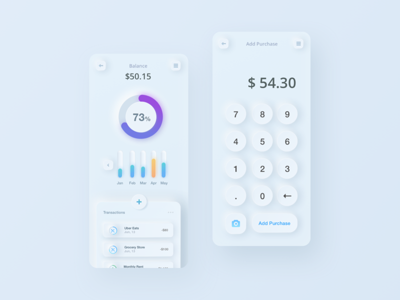 Neumorphism: Finance App + Calculator soft white visualization clean ui skeumorphic freebie finance clean calculator app neumorphic