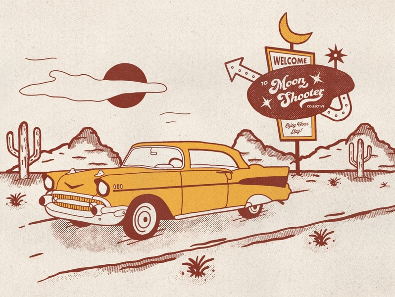 Retro Car & Desert Illustration vintage illustration cactus landscape illustration texture typography mid century vintage sign motel sign southwestern desert car illustration retro design illustration halftone