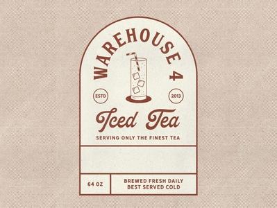 Iced Tea Illustration & Label Design label bar cocktail coffee iced tea brand identity badge design vintage texture vintage illustration branding illustration retro design mid century halftone