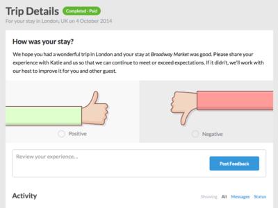 Trip Feedback Input feedback review ui illustration design