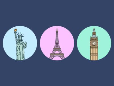City Landmark Illustration city landmark vector design illustration icon