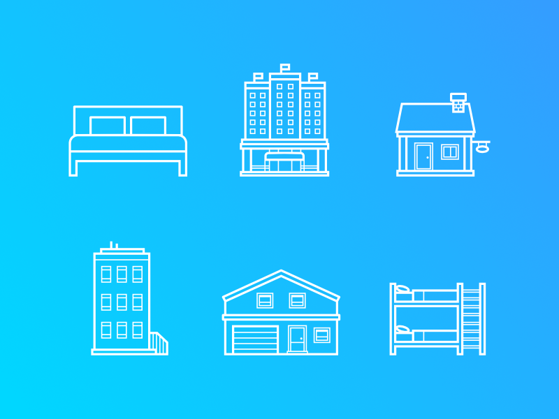 Property Type Icons bed house apartment property icons vector