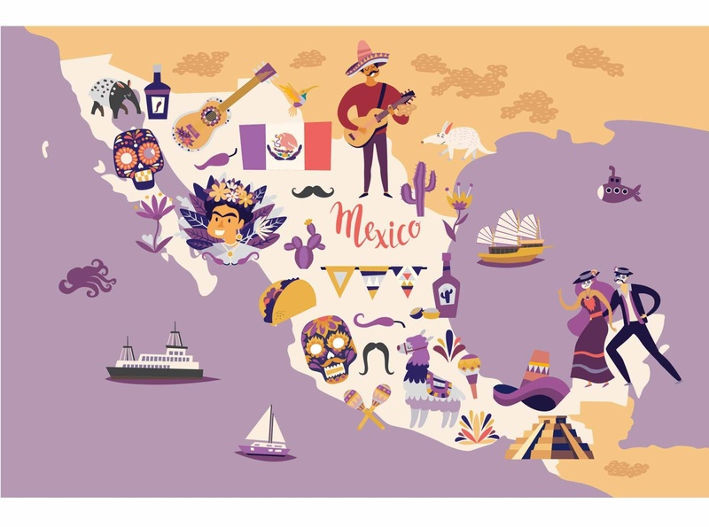 Mexico map vector illustration background mexico map design icon flat card vector illustrator illustration cartoon