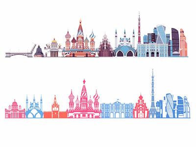 Russia skyline contour landmarks travel skylines russia skyline background design art vector illustrator illustration icon flat cartoon card
