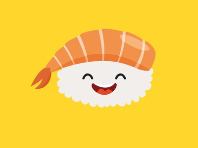 Happy sushi character smiles sticker stickers sashimi sushi roll sushi logo sushi character design art vector illustrator illustration icon flat cartoon card