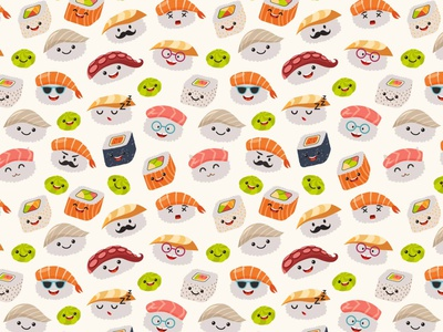Funny sushi pattern seamless pattern pattern art sushi roll sushi background design art vector illustrator illustration icon flat cartoon card