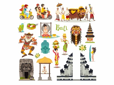 indonesian vector icons set indonesian icon set icons bali landmarks bali landmarks bali background design art vector illustrator illustration icon flat cartoon card