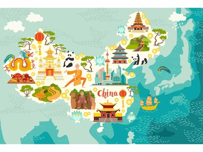Illustrated map of China children landmarks cartoon map abstract atlas chinese china map illustration flat vector cartoon card