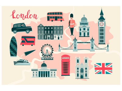 London illustrated map illustrator icon illustration flat vector card cartoon england lamdmark abstract atlas london eye map london