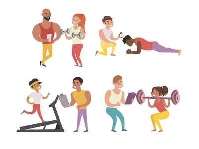 Training in the gym icon illustrator design character healthy lifestyle gym training illustration card flat vector cartoon