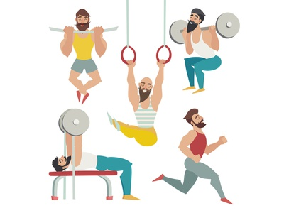 Sports people in the gym sports logo sports people sports people gym sports design illustrator icon illustration flat vector cartoon card