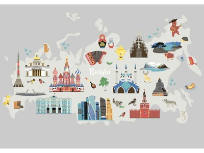 Russia vector map background icon skyline russian illustration flat vector cartoon card hand drawn map russia