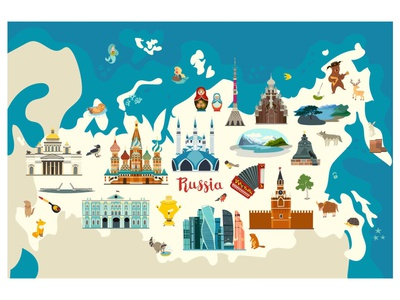 Russia vector map art background illustration flat russian vector map map russia vector card cartoon