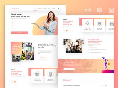 Startup startup template services design landing page agency website colorful ui design website website design
