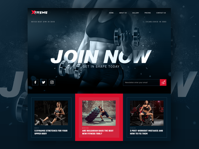 Gym Landing Page Design habits nutrition exercise fitness fitness club pricing join now join us gym dark theme dark ui colourful website ui design ux ui