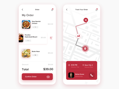 #6 Food Delivery App Order and Tracking screen concept food delivery service delivery app app design mobile ui mobile app design mobile app clean ios app design ux ui cart order food location tracker location app tracking app food delivery food delivery app food app