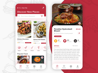 #7 Food Delivery App Landing and Dish detail screen concept favourite location cart food app rating user interface branding ui design unique ios app design ux ui restuarant app mobile ui design mobile ui mobile app app design restuarant