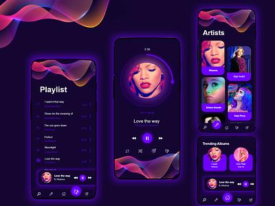 Music player UI glowy dark mode dark ui musicplayer music uidesign ui