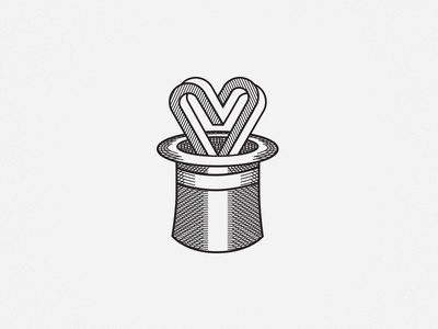 Magic Logo illusion heart hat magic logo