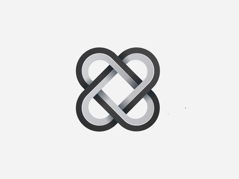 Logo Symbol symmetry logo design metal symbol gray gradient logo geometric