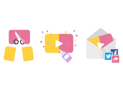 Cut, Edit and Share Video scissor glue social video share edit cut