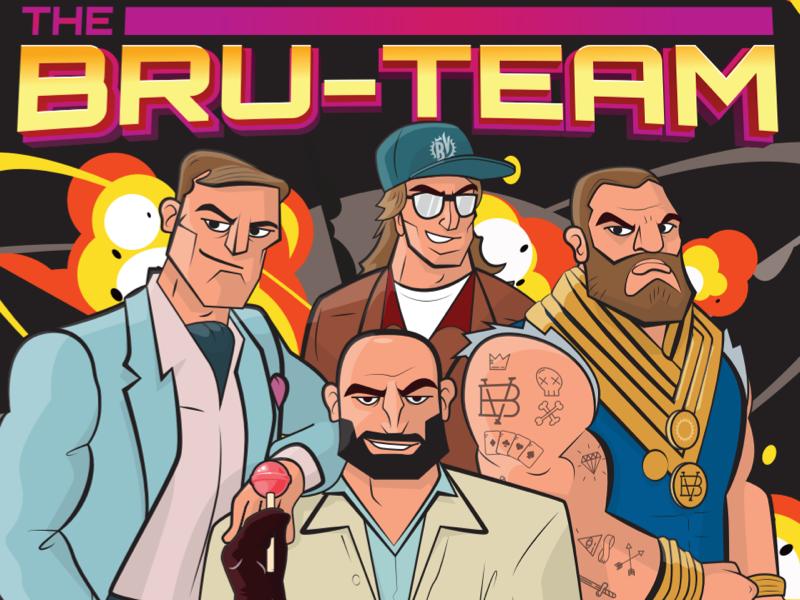Bru-team ipa crew team beer action illustrator bru bro a team