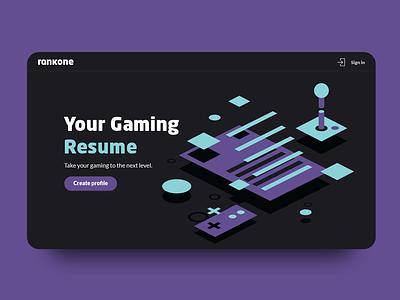 Build your gaming resume gamer rank one joystick game resume landingpage one rank gaming