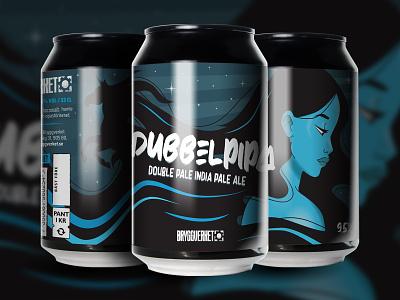 Dubbelpipa illustration beer art beer can bryggverket illustrator unicorn girl label branding
