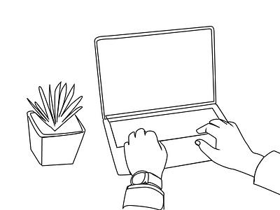 Hand and laptop one line art fiverr flyer poster ui design one line art ux logo line art vector illustration