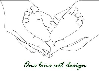Baby lag  and hand one line art icon fiverr flyer poster branding ui design one line art ux logo line art vector illustration