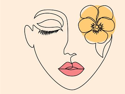Face and flower one line art fiverr flyer poster ui design one line art ux logo line art vector illustration