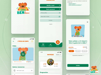 App for kids with autism - Ben le Koala parents koala accessible accessibility disabilities uxui ux mobile mobile app educational playful app for kids kids app child care health healthcare autism ui