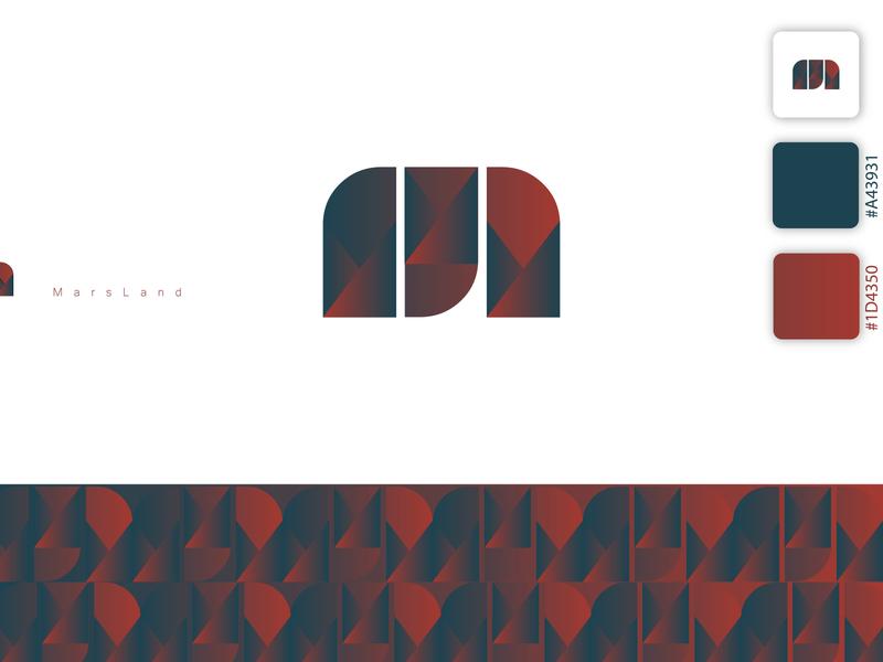 MarsLand Logo app redesign dark green blue red symbol alphabet illustration elegant design logo