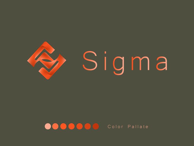 Sigma Logo illustration abstract sigma dark grey orange vector branding symbol simple logo flat design
