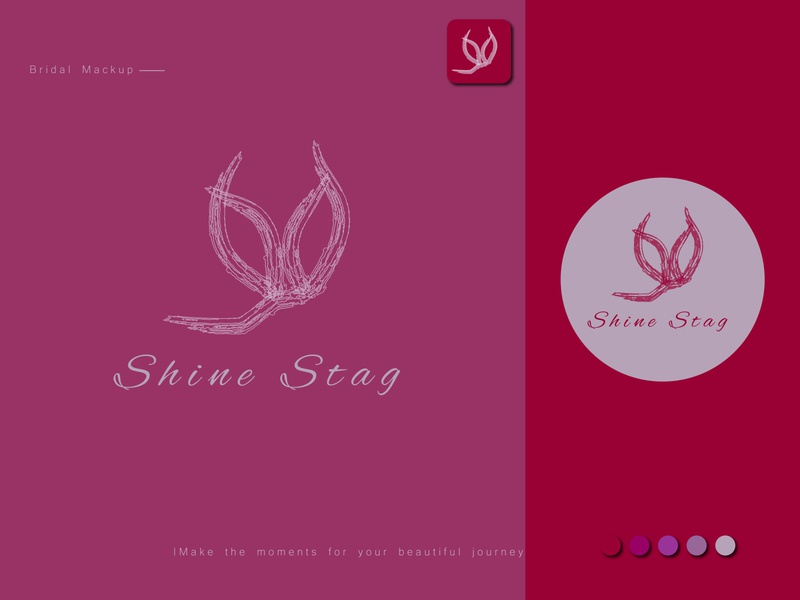 Shine Stag Logo wedding simple flat design app bridal pink purple illustration elegant design logo