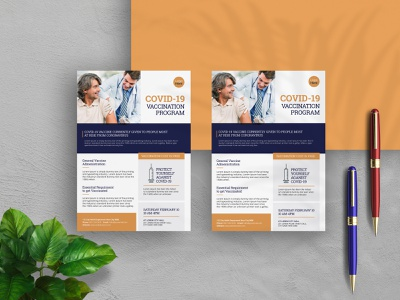 Covid-19 Vaccination Flyer Template program poster pandemic pamphlet medical magazine leaflet injection hospital health flyer flu doctor covid-19 flyer covid-19 coronavirus clinic campaign advert ad