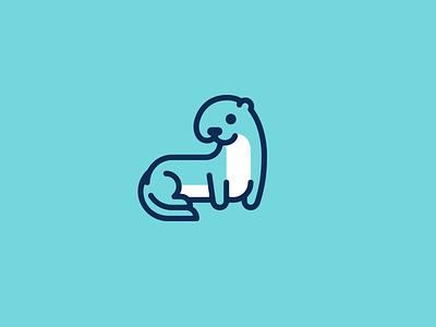 Otter kreatank cartoon illustration blue simple flat mascot character logo playful otter sweet cute