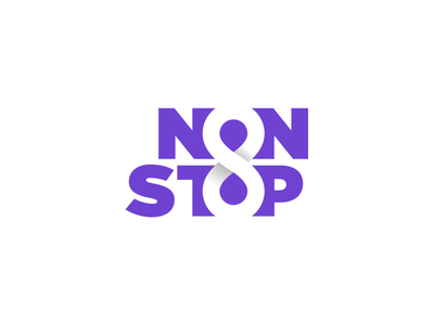 Non Stop & Infinity eight logotype smart clever brand identity branding logo design typography type 8 purple creative negative space infinity non stop