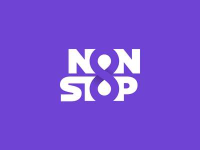 Non Stop purple location pin gradient design smart creative clever negative space typography logotype type eight 8 logo infinity non stop