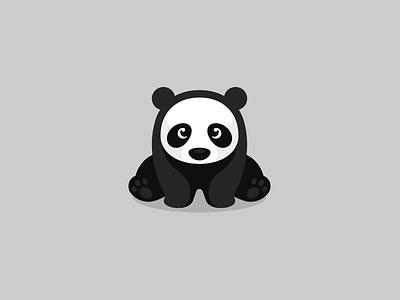 Just a sitting Panda kreatank creative fun playful simple flat vector illustration mascot character logo sweet cute panda